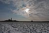 Leuchtturm Flügge (Kay unterwegs) Tags: felder schnee leuchtturm landschaft sonne winter wolken blauerhimmel