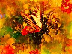 butterfly in floral arrangement (larrynunziato) Tags: butterfly digitalart digitalpainting floral mixedmedia