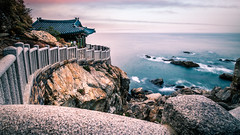 Hongryeonam Temple - South Korea - Seascape photography (Giuseppe Milo (www.pixael.com)) Tags: photo naksansa landscape sunset buddhist nature southkorea korea clouds longexposure travel photography architecture sky seascape temple sea geotagged rocks yangyang gangwondo kr onsale