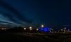 Emscher Klärwerk in Bottrop (gabrieleskwar) Tags: outdoor bottrop klärwerk himmel wolken nrwgermany ruhrgebiet emscher lichter leuchten farbe formen gras blaue stunde