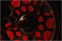 Macro Mondays – Circles (Kev Gregory (General)) Tags: macromondays circles strainer element coffee cafetiere illuminated behind with red light highlight round openings gauze kev gregory canon 7d