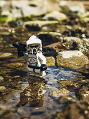 Recon Trooper on Pebble Brook (CookCreator) Tags: star wars clone trooper river brook nature hiking california adventure rocks lego macro toy photography minifigure