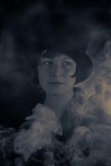 midnight smoke (*altglas*) Tags: portrait bw monochrome toned projectionlens 35kp18120 moonlight hat fog nebel hut porträt smoke