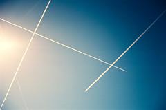 clear skies call for.... (janette_j) Tags: blue clear skies chem trails ektar 100 35 mm film nikon n65