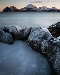 Drogstolen (Greg Whitton Photography) Tags: arctic frozen ice landscape lofoten norway seascape snow sony winter a7rii drogstolen sunrise dawn sea rockpool peaceful