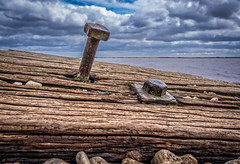 Weathered Groin.jpg (Almac1879) Tags: wood shoreline neglect iron landscape decay wooden water humber landscapes shore groin hessle river bolt nut weathered pebbles groins sky worn beach pebblebeach