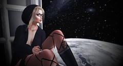 Moon (NefrytkaResident) Tags: catwaclip nafrytka catwa bento head hair dress glasses vision cendrajacket utopiashoes maitreyasashahair staroutletstocking women girl windows sl secondlife firestorm fashion shoop blogger jacket outfit pjeypearl