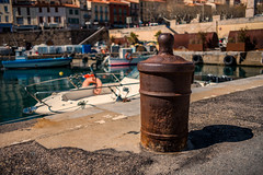 Putting weapons beyond use...... (Dafydd Penguin) Tags: recycling eco green wmd weapons out use 1808 napoleonic cannon bollard harbour harbor port dock quay water sea vendres town coast coastal sw france mediterranean med leica m10 summicron 35mm f2 asph