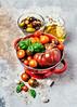 Heirloom tomatoes (ctotir) Tags: tomatoes basil olives oliveoil food foodphotography foodanddrink stilllife garlic