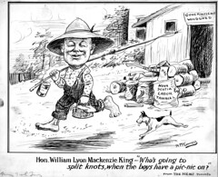 """Hon. William Lyon Mackenzie King - 'Who's going to split knots, when the boys have a pic-nic on?'"" (ArchivesOfOntario) Tags: cartoon drawing illustration politicalcartoon newspaper newtonmcconnell williamlyonmackenzieking primeminister federal politics commentary picnic dog caricature"
