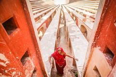 Delhi, India (gstads) Tags: delhi newdelhi india indian line lines geometry geometric jantarmantar red woman lady sari sundial