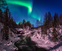Auroras above Myllykoski rapids (M.T.L Photography) Tags: myllykoski kuusamo juuma river riverkitkajoki water sky winter auroraborealis northernlights ice stream mikkoleinonencom snow forest trees mtlphotography panoramicphotography myllykoskirapids nikond810 nikkor1424mmf28g