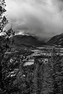 Views of the Bow River and Valley While Hiking the Tunnel Mountain Trail (Black & White)