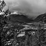 Views of the Bow River and Valley While Hiking the Tunnel Mountain Trail (Black & White) thumbnail
