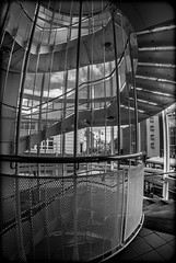 Sunderland. (CWhatPhotos) Tags: cwhatphotos olympus ep3 9mm fisheye fish eye bodycap body cap lens f8 wide angle view camera photographs photograph pics pictures pic picture image images foto fotos photography artistic that have which contain sunderland north east england stairs spiral debenhams car park circular girders structure architecture geometry looking out street lane point buildings