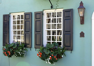 Spring windows on Tradd Street, Charleston, SC