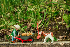 Fedding the little cow (fabioffcarvalho) Tags: garden miniaturas relva canon brinquendos photography toy playmobil terra jardim craters mountains hills landscape homemade play mobil view nature farm