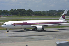 HS-TKA, Singapore Changi, March 21st 2003 (Southsea_Matt) Tags: hstka msn29150 boeing 7773d7 thaiairways staralliance wsss sin changi singapore march 2003 spring canon d30 sigma 170500mm airplane airport aviation aircraft plane