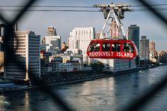 The red of the Roosevelt Island Tramway contrasts with Manhattan's East Side (rjdibella) Tags: tram usa rail manhattan incline newyorkcity bridges newyork 2012 fall rooseveltislandtram queensborobridge rooseveltisland 59thstreetbridge edkochqueensborobridge funicular funicularrailway gondola nyc unitedstates us