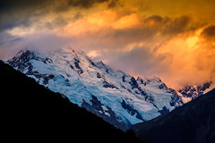 Fire and Snow on Minarets (ajecaldwell11) Tags: rock sunset ankh nationalpark mountains southisland canterbury mackenzie light blue mtcooknationalpark newzealand minarets clouds aoraki sky dusk mtcook caldwell snow mountain
