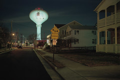 (patrickjoust) Tags: fujica gw690 kodak portra 160 6x9 medium format 120 rangefinder film c41 color negative cable release tripod long exposure night after dark manual focus analog mechanical patrick joust patrickjoust atlantic city new jersey nj usa us united states north america estados unidos urban street margate water tower elephant lucy playground sign house home