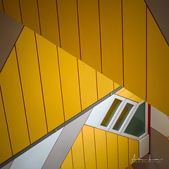 Yellow Submarine VIII (Alec Lux) Tags: pietblom rotterdam architecture building city cube cubism design detail details fragment fragments geometric geometry hexagon holland house houses kaleidoscope kubuswoningen netherlands structure urban water