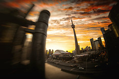 Toronto Sunsets (Paul Flynn (Toronto)) Tags: toronto sunset gardiner express way highway cntower rogers centre sky city downtown tower towers rooftop