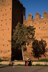 Medina (WahranBahia (i follow back)) Tags: shoot traveling beautiful day hour golden sun lights light african africa travel contrast old maroc morocco rabat medina orange wall man