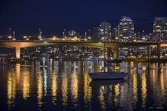 Free Room & Board (Clayton Perry Photoworks) Tags: vancouver bc canada spring explorebc explorecanada skyline night lights reflections boat