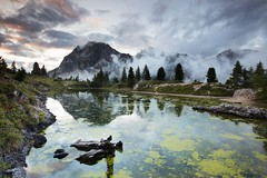 Falzarego Sunset (Kevin.Grace) Tags: italy falzarego landscape reflection sunset lake log clouds dolomites dolomiti