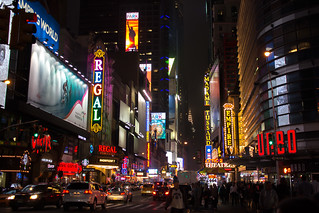 42nd Street in New York City at night