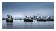 Work In Progress - London (Christopher Pope Photography) Tags: greenwich longexposure christopherpopephotography wwwchristopherpopephotographycom chrispope architecture dawn riverthames thamesbarrier cityscape silvertones skyline le london