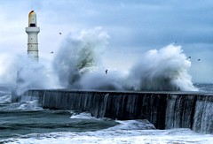 BOOM! (PeskyMesky) Tags: aberdeen aberdeenharbour storm water wave scotland southbreakwater canon canon6d lighthouse
