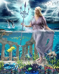 Goddess Poseidon (Davien Orion) Tags: photoshopelements photomanipulation deviantart greekgod greekgoddess greekmythology greek greektemple underwater underwatertemple trident goddess goddessofthesea woman model fish poseidon neptune seaturtle thunderbolt sea ocean water blue explore coral fantasy mythology