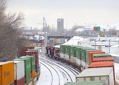 Intermodals meeting (Michael Berry Railfan) Tags: cn canadiannational train freighttrain intermodaltrain stacktrain doublestacks cofc winter snow montreal montrealsub quebec cn120 cn149 montrealwest