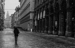 via indipendenza, solitudine nel freddo (lucafabbricesena) Tags: street winter snow flakes arcade architecture building city emiliaromagna italia bologna woman with umbrella depth perspective nikon d800 bw monoc monochrome peopleandpaths