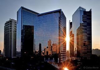 Sao Paulo - Morumbi Corporate towers at dusk - photo by Carlos Alkmin