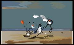 Un día de playa (Amparo Higón) Tags: playa bluesky beach play juego ball pelota digitalart digitalartist art kunst modernekunst creative kreativität amparohigón valencia