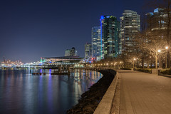 Coal Harbour toward Canada Place (halsaxm) Tags: coalharbour downtown vancouver canada britishcolumbia buildings architecture water reflections portofvancouver canadaplace nightscape cityscape skyline sky