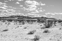 San Bernardino County, California (paccode) Tags: solemn d850 sand landscape desert bushes brush blackwhite quiet fall california abandoned monochrome scary creepy mojave forgotten hills mountain twentyninepalms unitedstates us