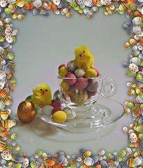 2018 SoS: Egg-cellent (dominotic) Tags: 2018 food happyeaster eastereggs smileonsaturday chocolate sweets lolly easterchicken candycoatedchocolateeggs stilllife eggcellent glasscoffeecup sydney australia