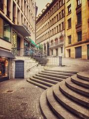Genève - rue de la Cité  - composition géométrique (olivierurban) Tags: genève geneva suisse switzerland vieilleville escalier stairs