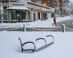 Snow on Bench in Longfellow Square (Corey Templeton) Tags: bench city longfellowsquare maine newengland other pinestreet portland portlandmaine snow statestreet westend winter unitedstates