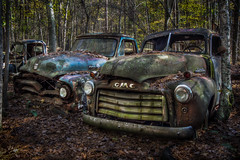 Ford & GMC Side-by-Side (donnieking1811) Tags: georgia white oldcarcity ford gmc trucks rusty dilapidated woods trees hdr canon 60d lightroom photomatixpro