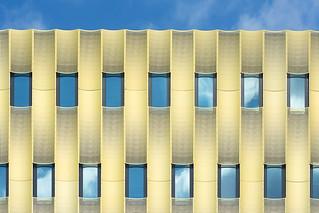 Fifteen windows in a golden facade