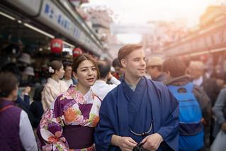 Multi-Ethnic couple in kimono visiting Tokyo