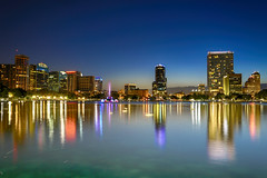 Lake Eola, Downtown Orlando, Florida (rocinante11) Tags: orlando florida lake lakeeola reflection canoneos5dmarkiii ef2470mmf28lusm longexposure timedexposure ambient ambientlight blue fountain