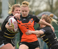 One Into Two Won't Go (Feversham Media) Tags: womenssuperleague rugbyleague york amateurrugbyleague yorkstjohnuniversity yorkcityknightsladiesrlfc castlefordtigerswomenrlfc northyorkshire yorkshire sportsaction