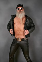 Strutting in Leather (Cowboy Tommy) Tags: leather blackleather leatherpants leatherjacket bikerjacket shirtless hairy treasuretrail pubes pubichairs nipples bulge crotch legs tight package beard belt beltbuckle skull crossbones sex sexy rugged manly hot portrait