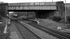 66 (_J @BRX) Tags: db class66 brighouse yorkshire england uk february 2018 winter freight train railway rail electromotive diesel emd gm bw blackandwhite nikon d5100 671a knowsleyfreightterminal wilton 66155 ews rubbish bridge